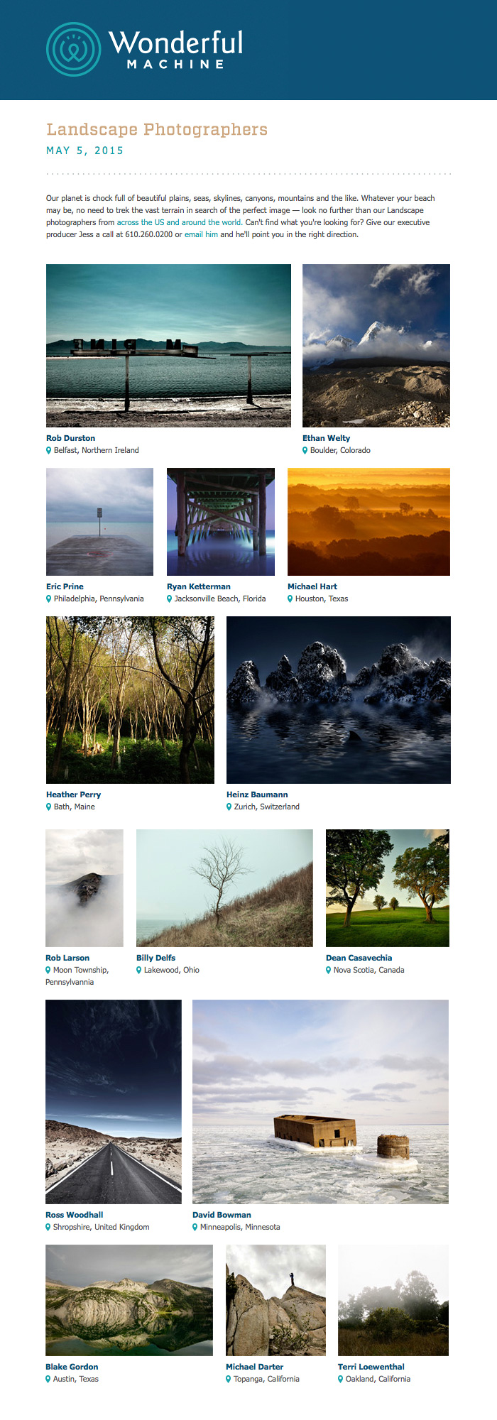 Landscape Photographers featured by Wonderful Machine